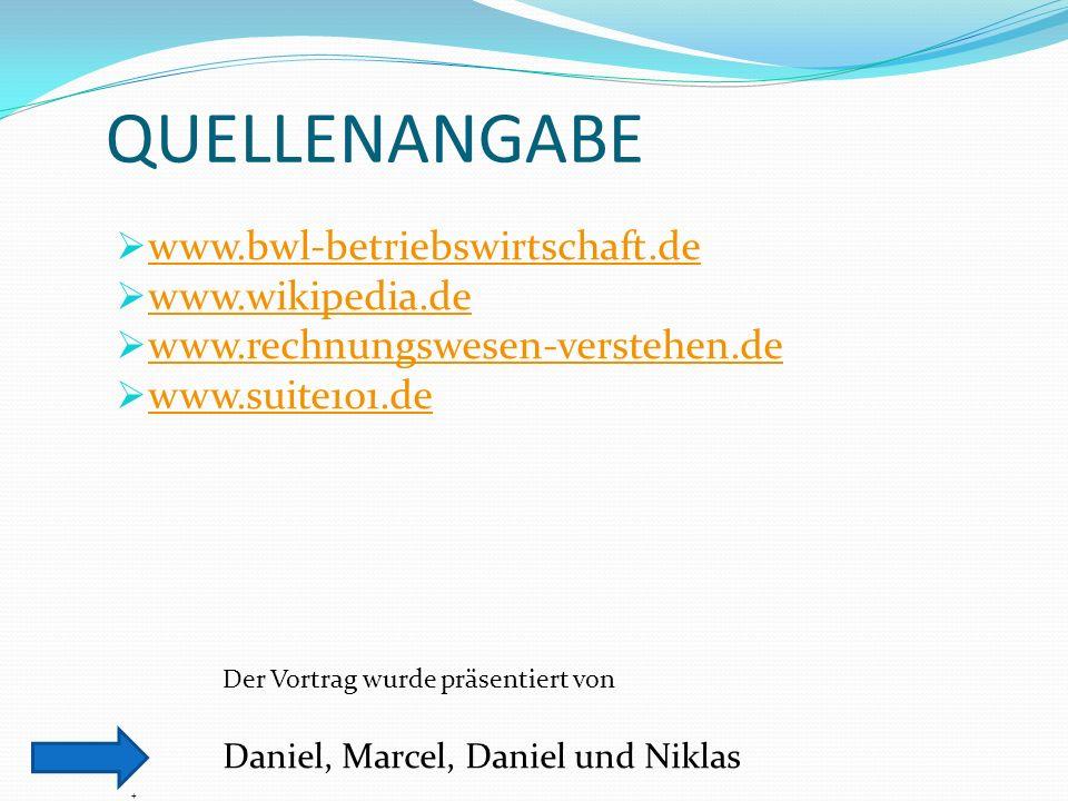 QUELLENANGABE www.bwl-betriebswirtschaft.de www.wikipedia.de