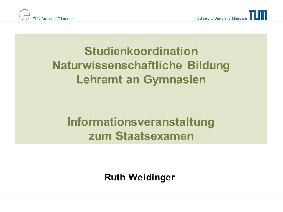 Studienkoordination Naturwissenschaftliche Bildung Lehramt an Gymnasien Informationsveranstaltung zum Staatsexamen