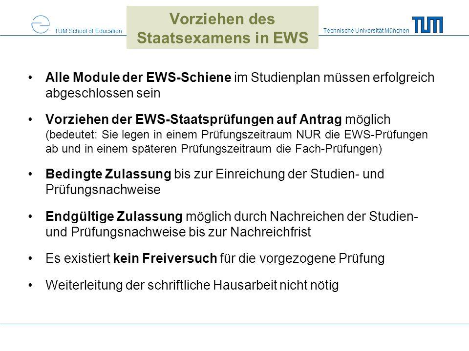 Vorziehen des Staatsexamens in EWS