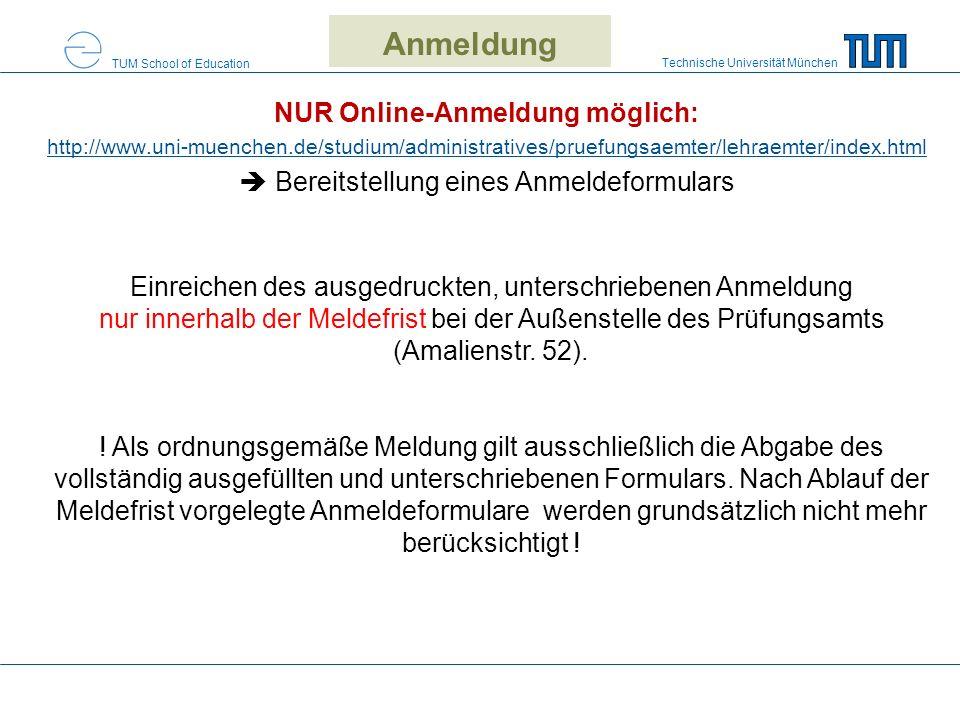 Anmeldung NUR Online-Anmeldung möglich: