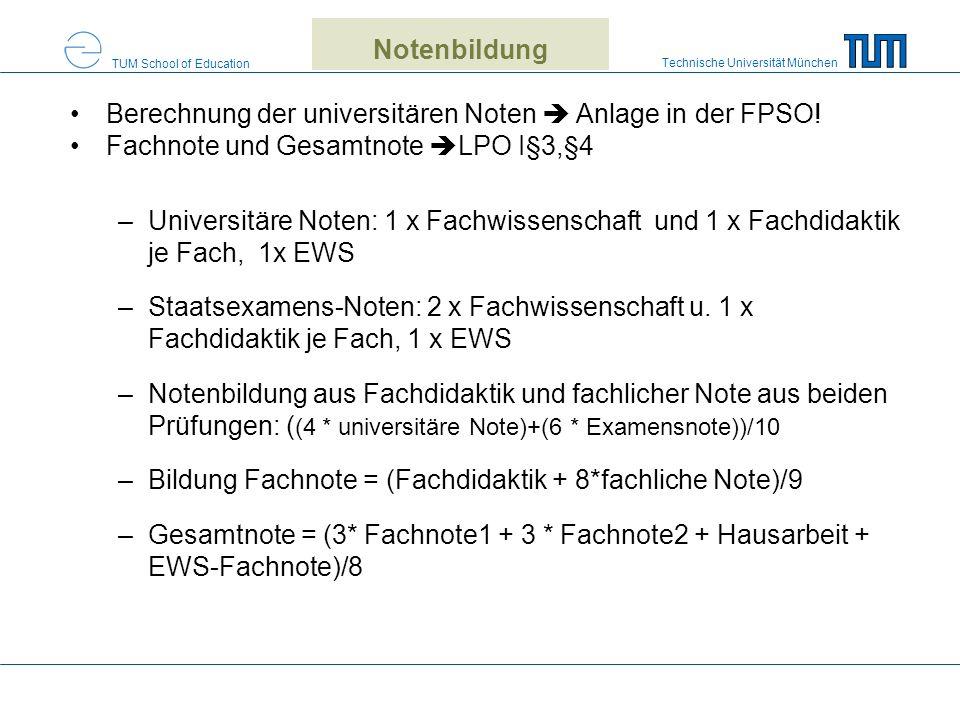Notenbildung Berechnung der universitären Noten  Anlage in der FPSO! Fachnote und Gesamtnote LPO I§3,§4.