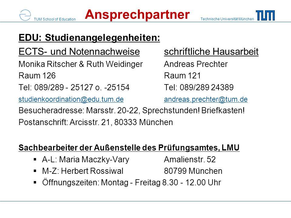 Ansprechpartner EDU: Studienangelegenheiten: