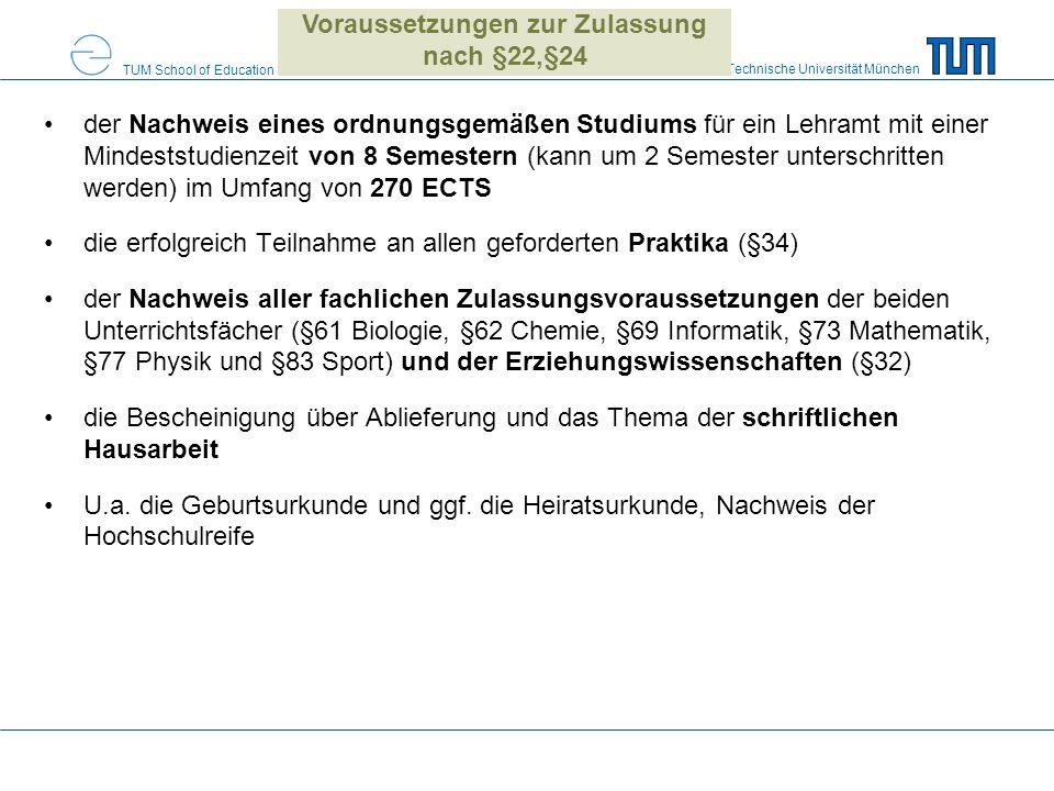 Voraussetzungen zur Zulassung nach §22,§24
