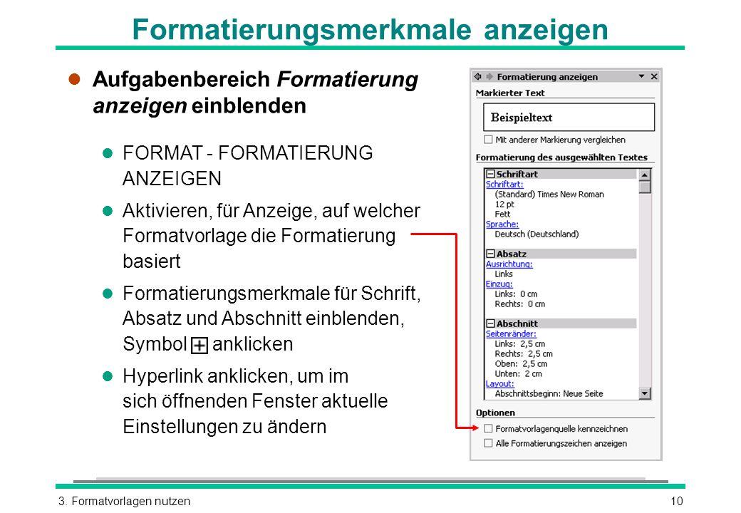 Formatierungsmerkmale anzeigen