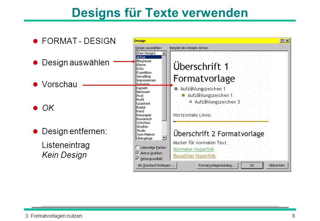 Designs für Texte verwenden
