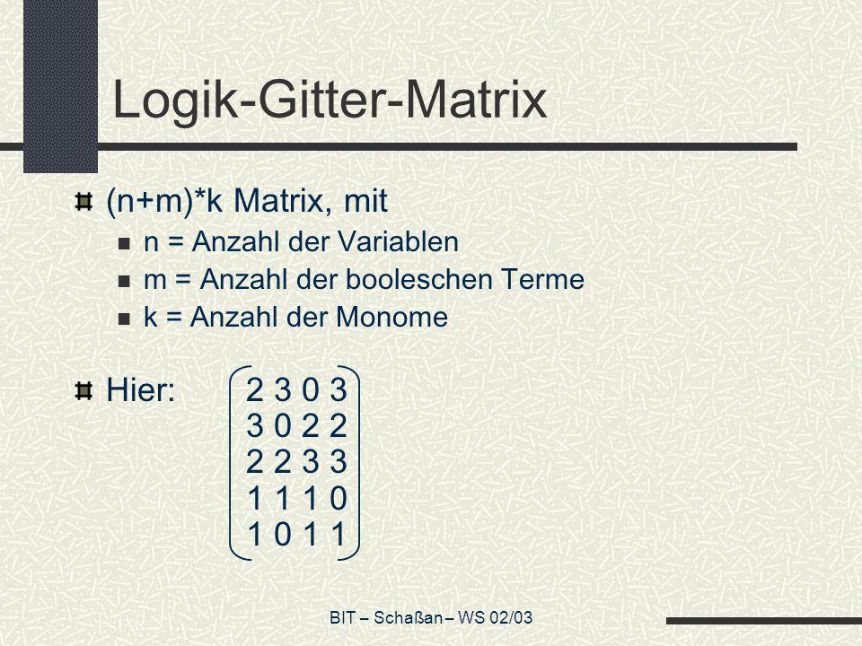 Logik-Gitter-Matrix (n+m)*k Matrix, mit