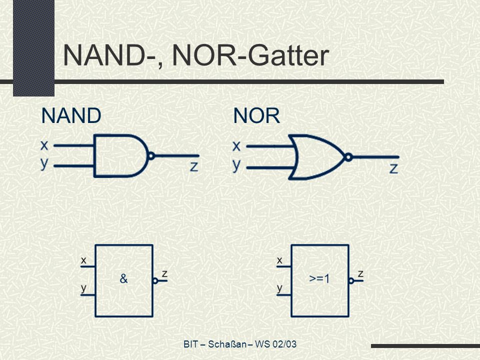 NAND-, NOR-Gatter NAND NOR BIT – Schaßan – WS 02/03