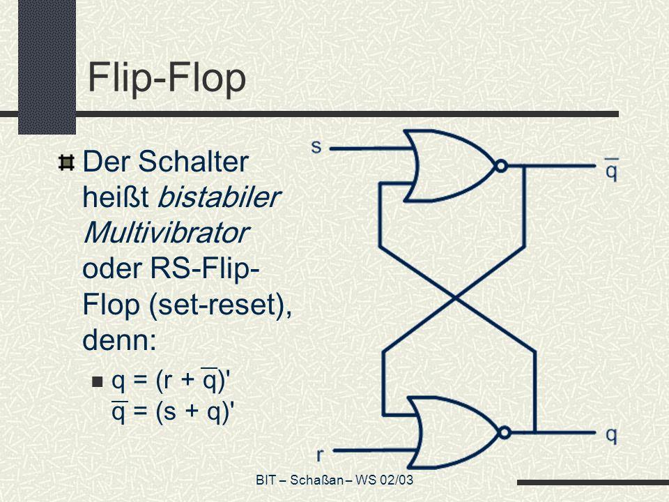 Flip-Flop Der Schalter heißt bistabiler Multivibrator oder RS-Flip-Flop (set-reset), denn: q = (r + q) q = (s + q)