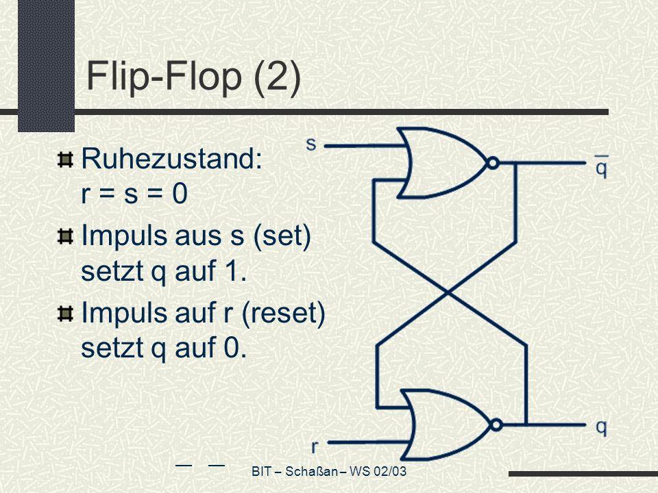 Flip-Flop (2) Ruhezustand: r = s = 0 Impuls aus s (set) setzt q auf 1.