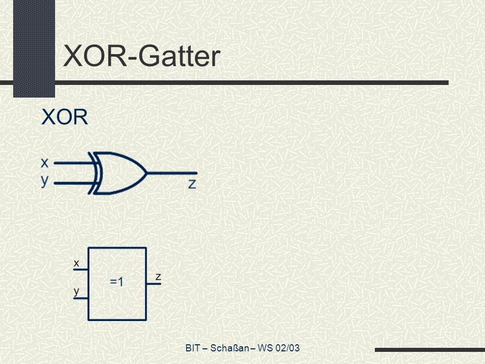 XOR-Gatter XOR Vgl. Folie 75! 2 Schalter BIT – Schaßan – WS 02/03