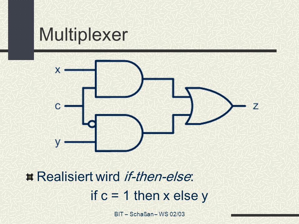 Multiplexer Realisiert wird if-then-else: if c = 1 then x else y