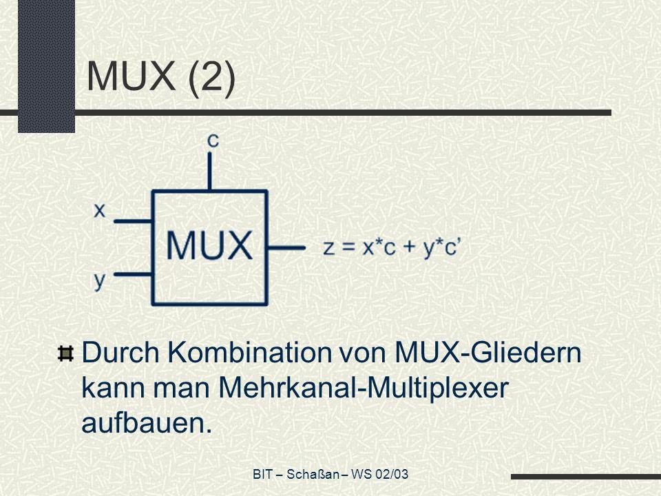 MUX (2) Durch Kombination von MUX-Gliedern kann man Mehrkanal-Multiplexer aufbauen.
