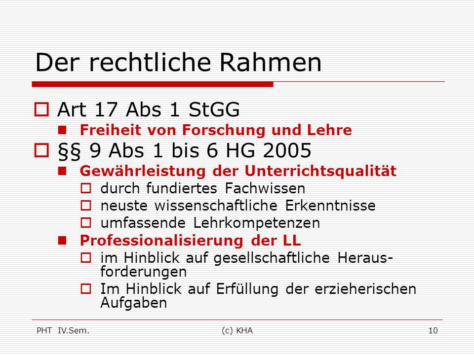 Der rechtliche Rahmen Art 17 Abs 1 StGG §§ 9 Abs 1 bis 6 HG 2005