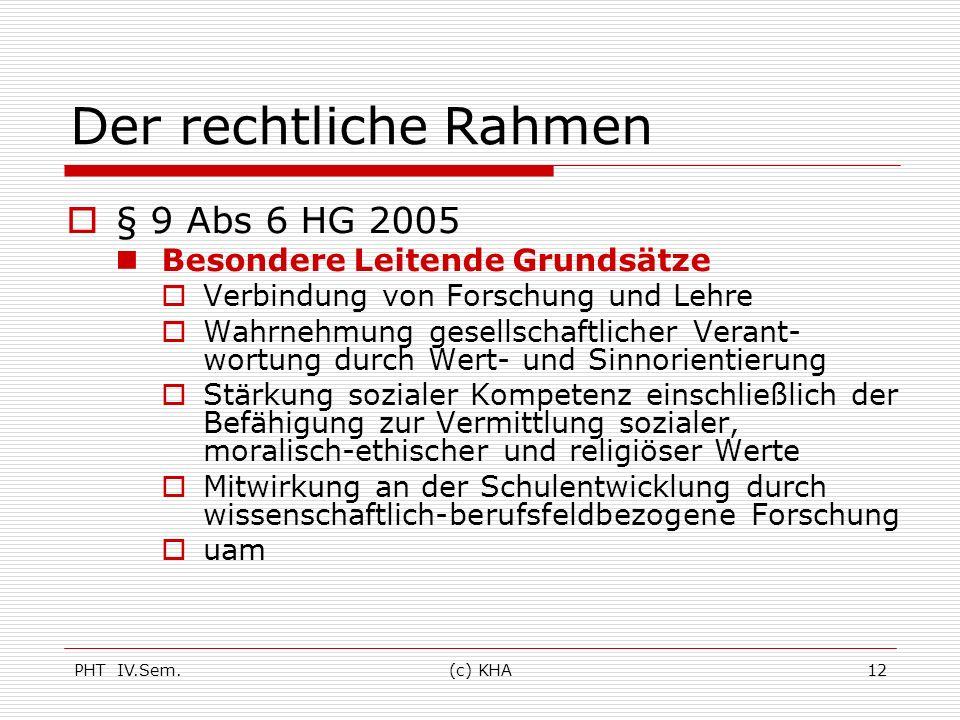 Der rechtliche Rahmen § 9 Abs 6 HG 2005 Besondere Leitende Grundsätze