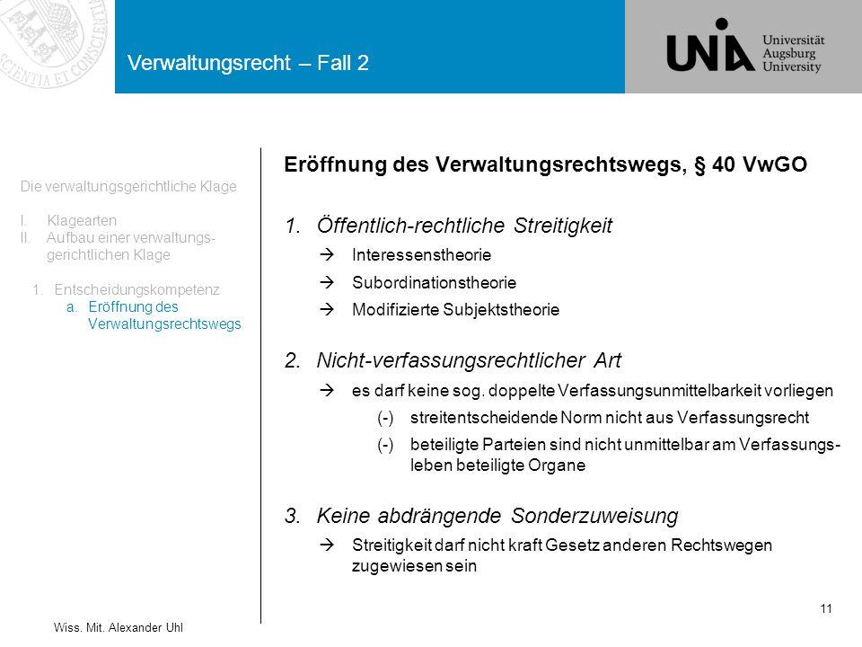 Eröffnung des Verwaltungsrechtswegs, § 40 VwGO