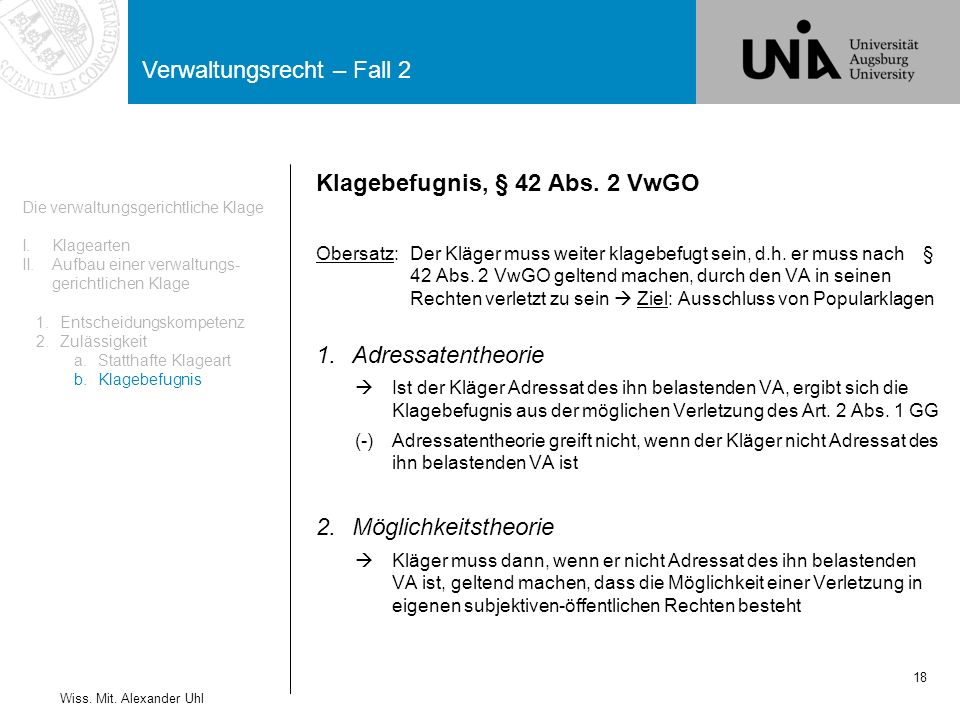 Klagebefugnis, § 42 Abs. 2 VwGO