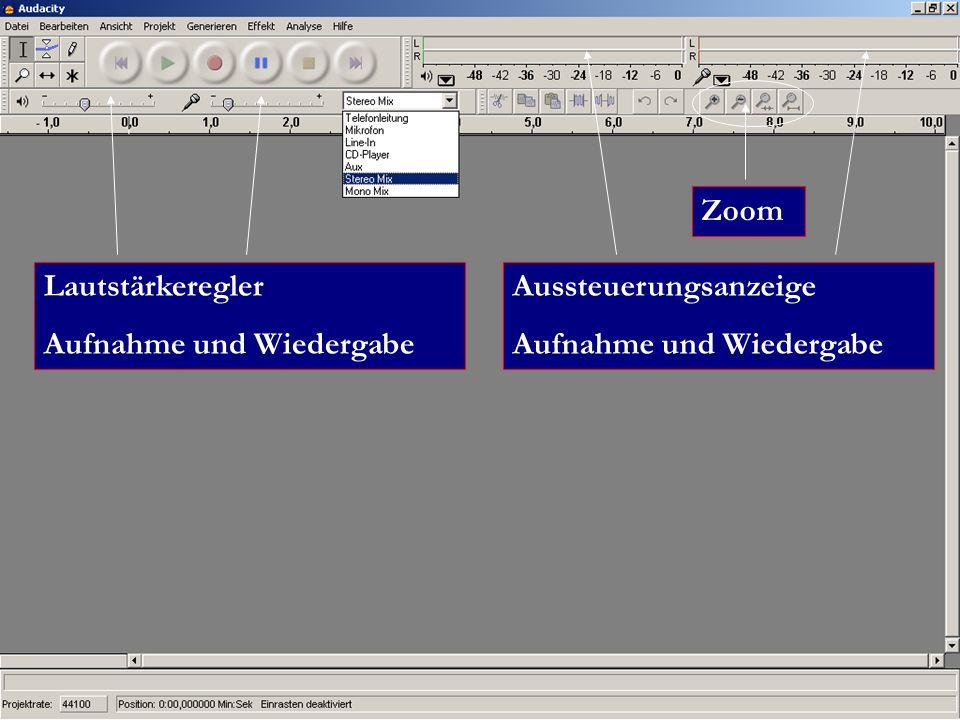 Zoom Lautstärkeregler Aufnahme und Wiedergabe Aussteuerungsanzeige Aufnahme und Wiedergabe