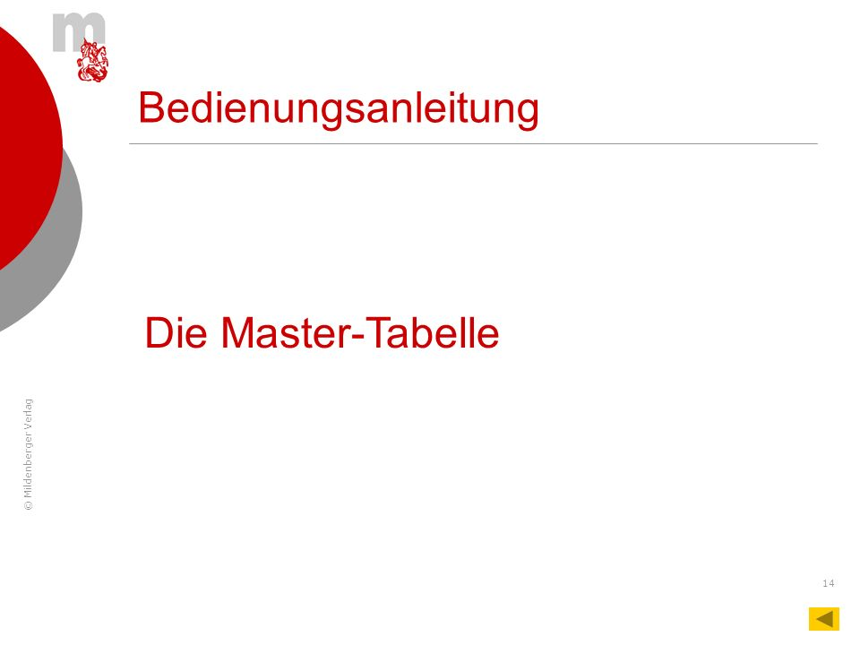 Bedienungsanleitung Die Master-Tabelle