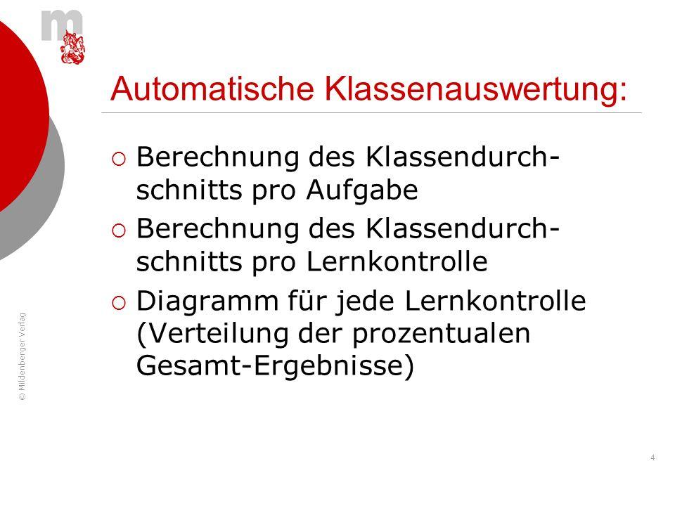 Automatische Klassenauswertung: