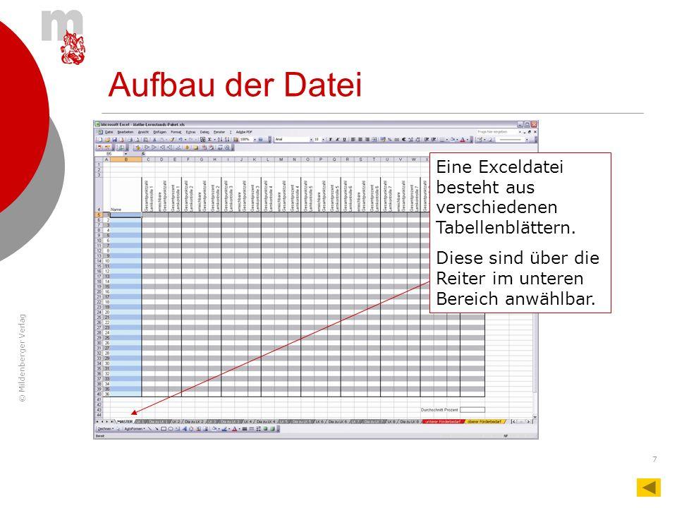 Aufbau der Datei Eine Exceldatei besteht aus verschiedenen Tabellenblättern.