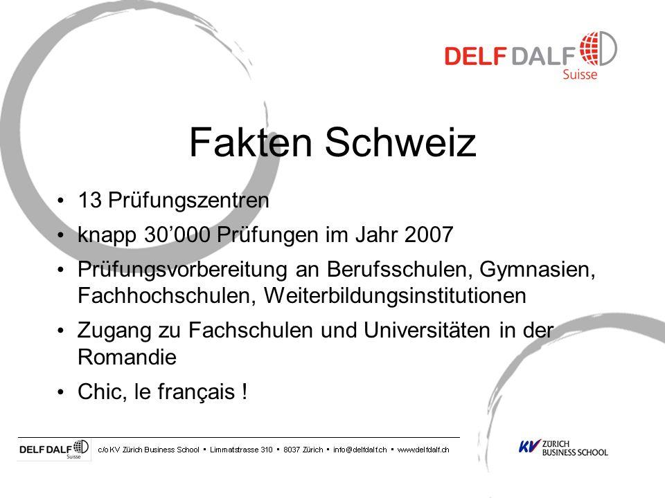 Fakten Schweiz 13 Prüfungszentren knapp 30'000 Prüfungen im Jahr 2007