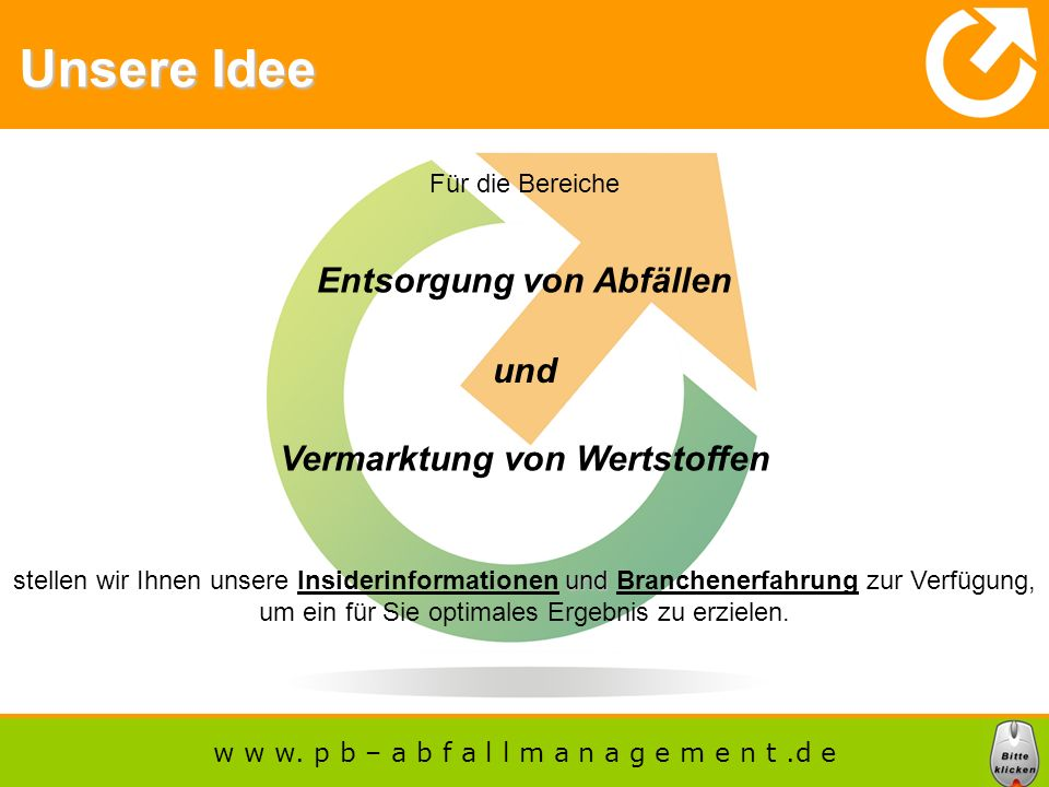 Entsorgung von Abfällen Vermarktung von Wertstoffen