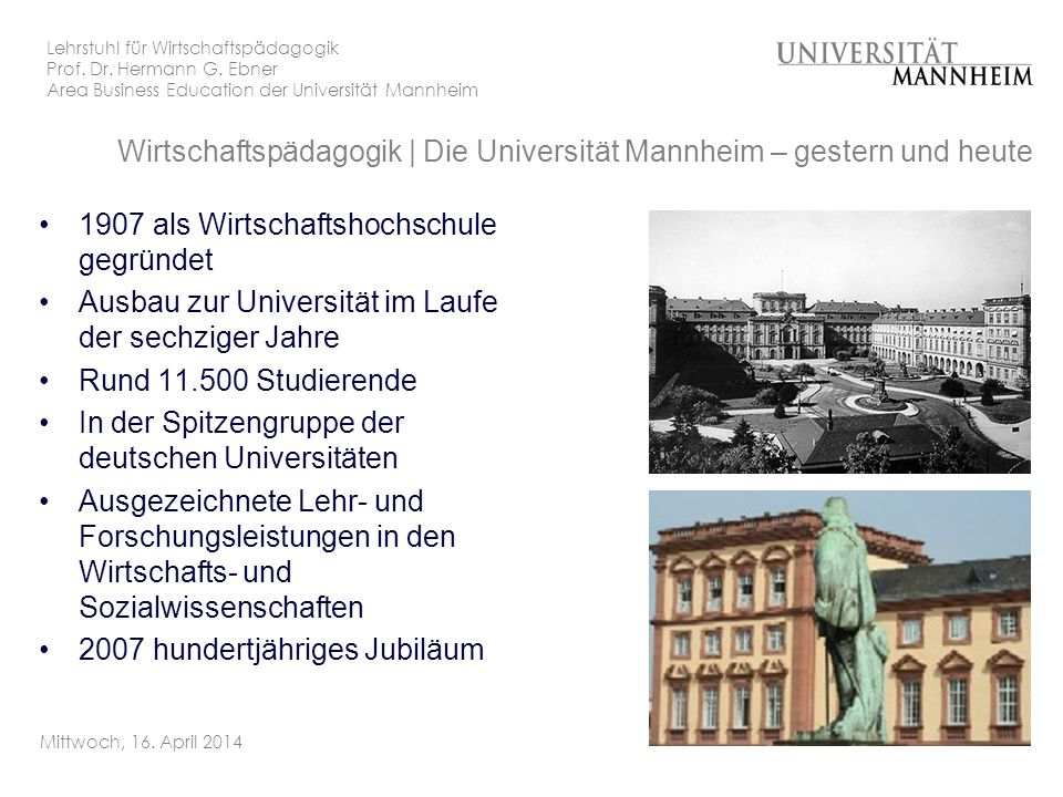 Wirtschaftspädagogik | Die Universität Mannheim – gestern und heute
