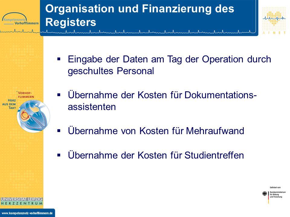 Organisation und Finanzierung des Registers