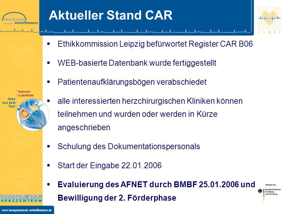 Aktueller Stand CAREthikkommission Leipzig befürwortet Register CAR B06. WEB-basierte Datenbank wurde fertiggestellt.