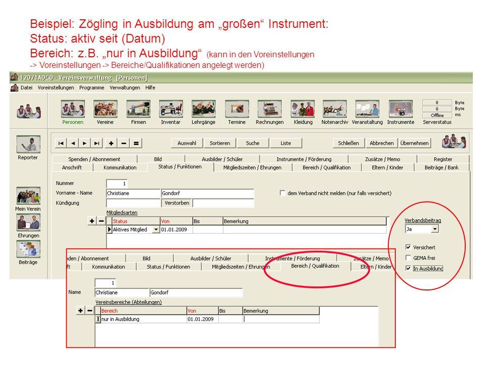 """Beispiel: Zögling in Ausbildung am """"großen Instrument:"""
