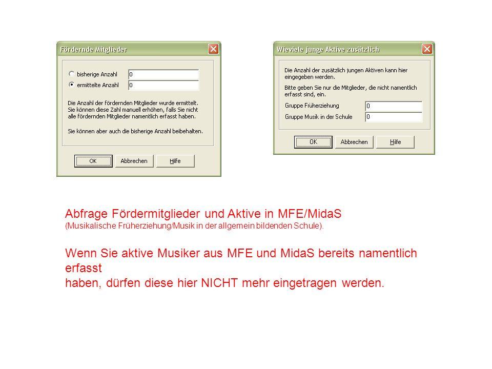 Abfrage Fördermitglieder und Aktive in MFE/MidaS
