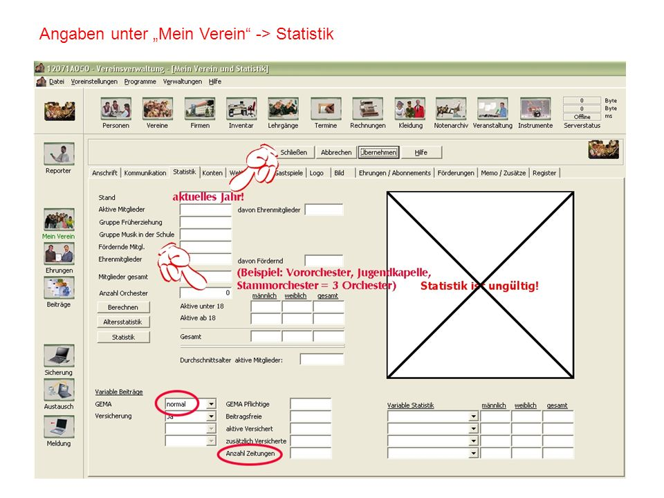 """Angaben unter """"Mein Verein -> Statistik"""