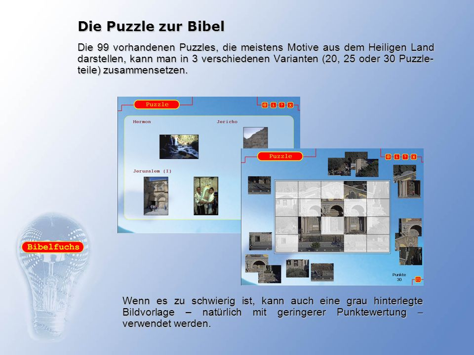 Die Puzzle zur Bibel