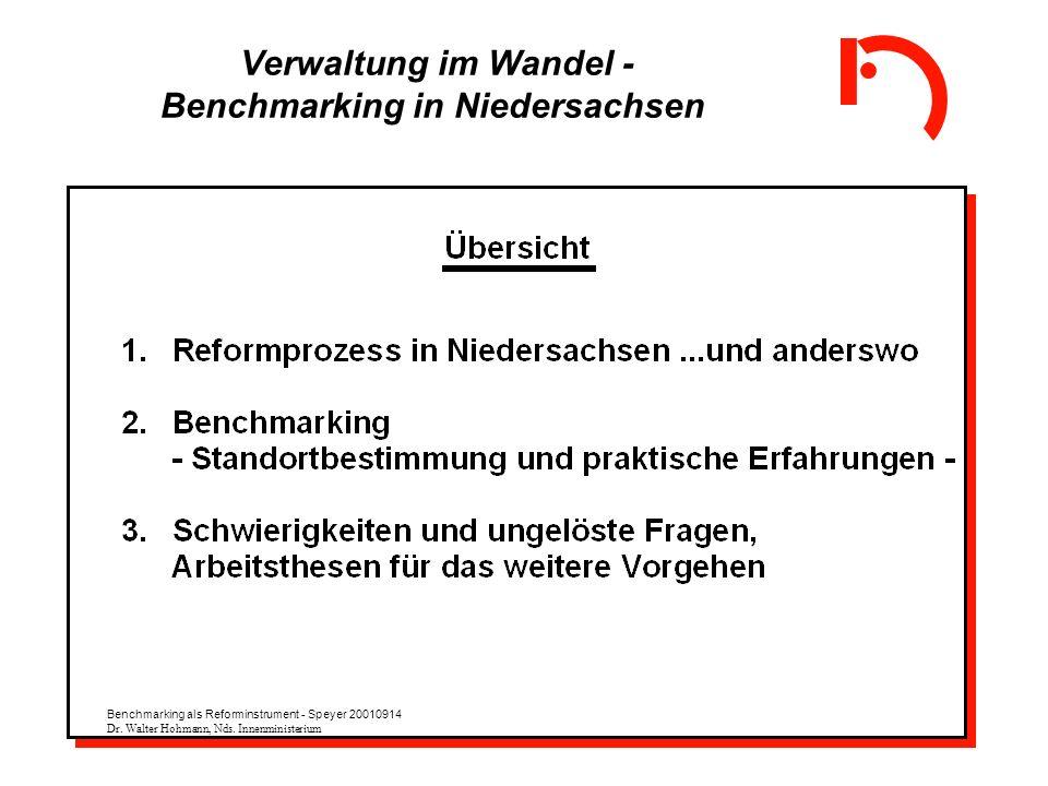 Verwaltung im Wandel - Benchmarking in Niedersachsen