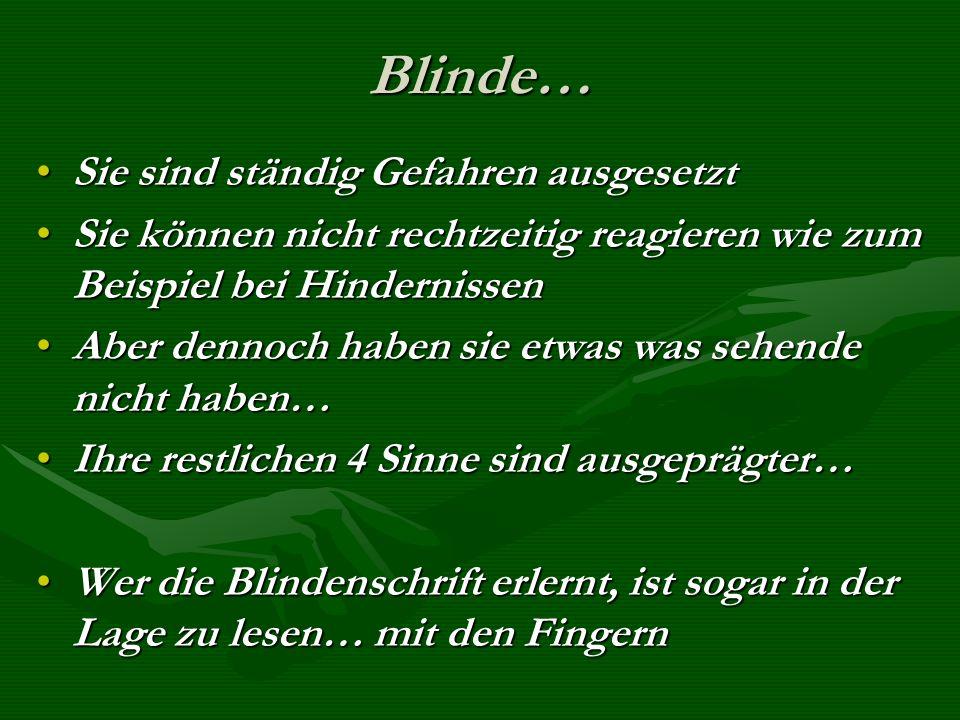 Blinde… Sie sind ständig Gefahren ausgesetzt