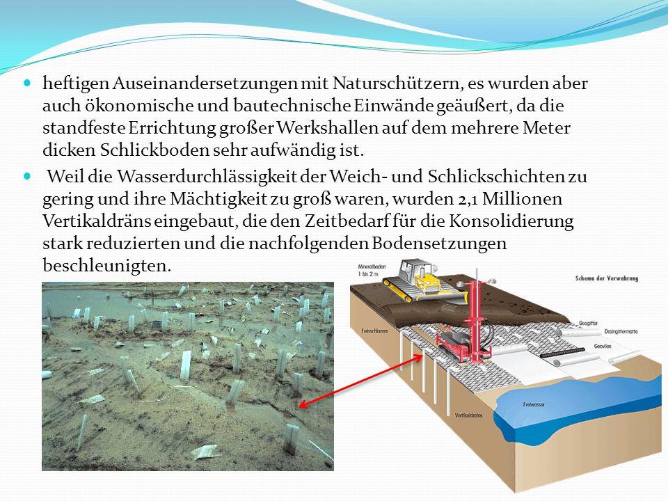 heftigen Auseinandersetzungen mit Naturschützern, es wurden aber auch ökonomische und bautechnische Einwände geäußert, da die standfeste Errichtung großer Werkshallen auf dem mehrere Meter dicken Schlickboden sehr aufwändig ist.