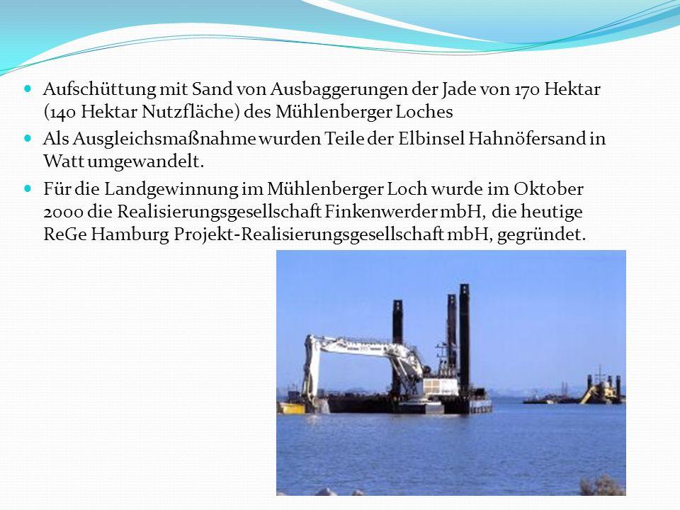Aufschüttung mit Sand von Ausbaggerungen der Jade von 170 Hektar (140 Hektar Nutzfläche) des Mühlenberger Loches