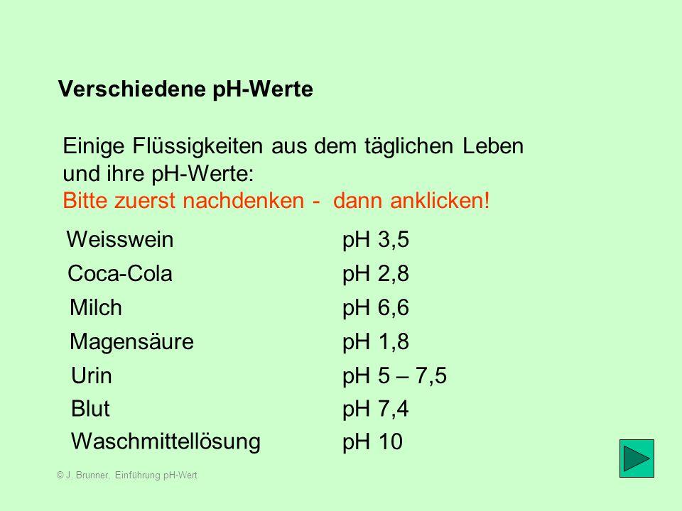 Verschiedene pH-Werte