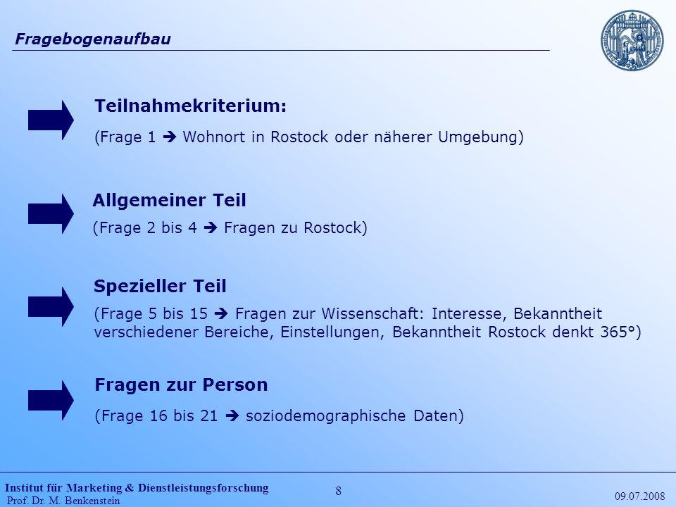 (Frage 1  Wohnort in Rostock oder näherer Umgebung)