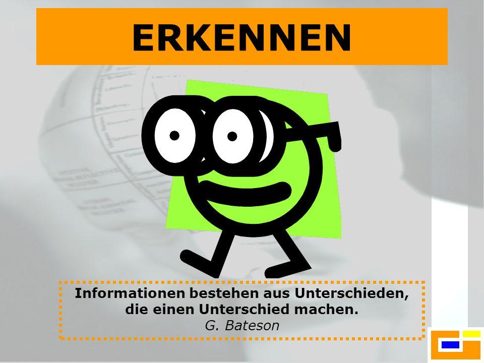 ERKENNEN Informationen bestehen aus Unterschieden, die einen Unterschied machen. G. Bateson