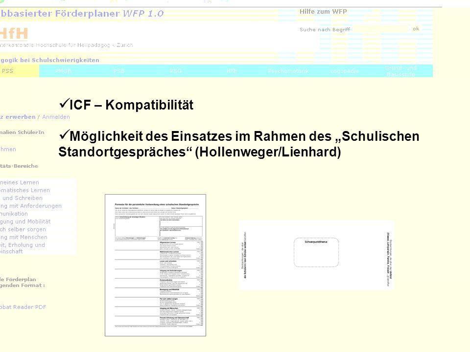 """ICF – Kompatibilität Möglichkeit des Einsatzes im Rahmen des """"Schulischen Standortgespräches (Hollenweger/Lienhard)"""