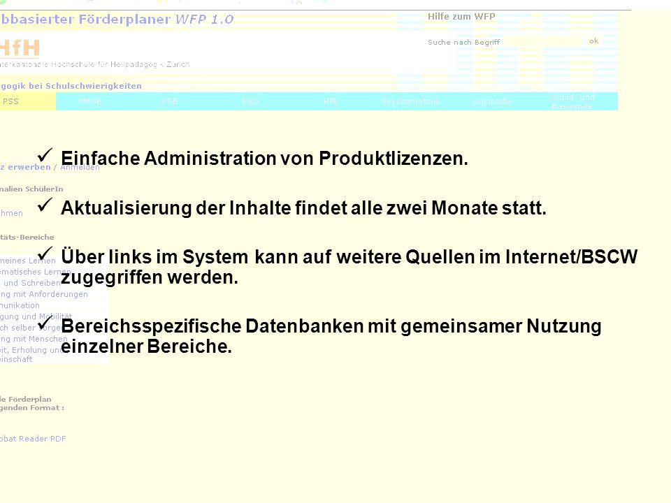 Einfache Administration von Produktlizenzen.