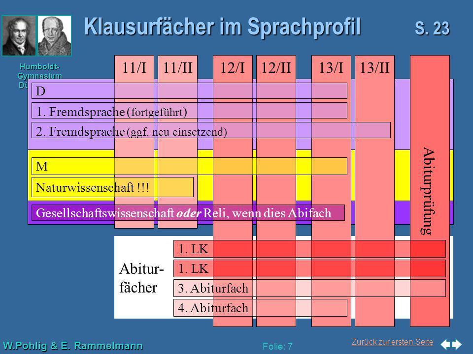 Klausurfächer im Sprachprofil S. 23