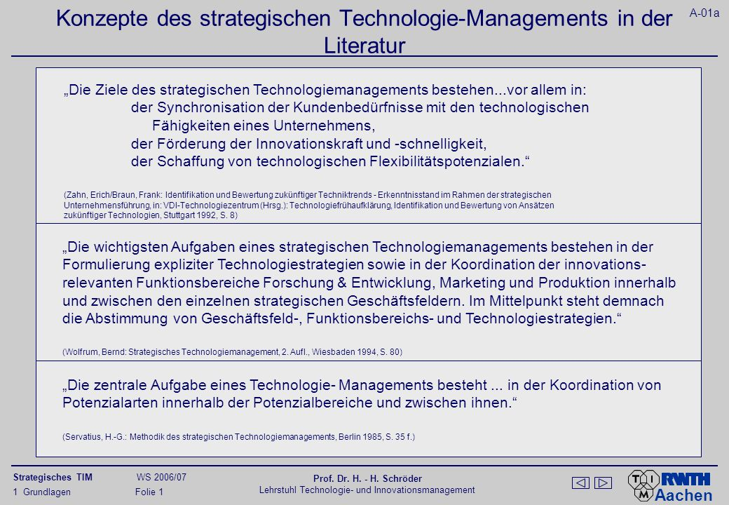 Koordinationsfunktion des Strategischen Technologiemanagements