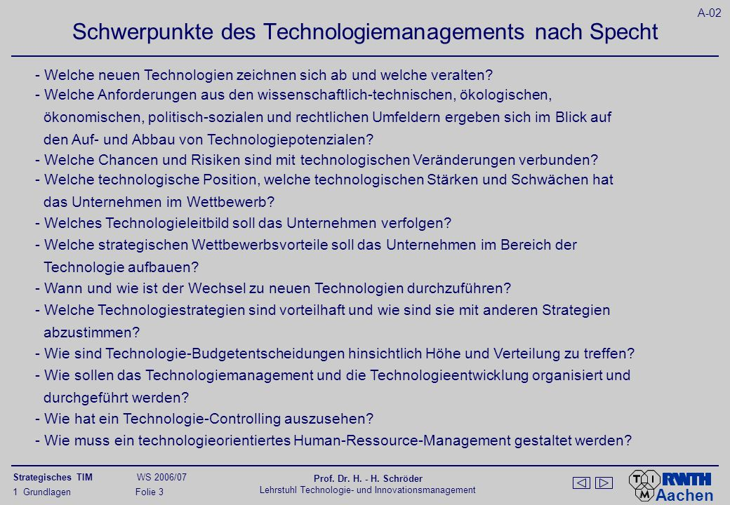 Komponenten eines strategischen Technologiemanagements nach Wolfrum