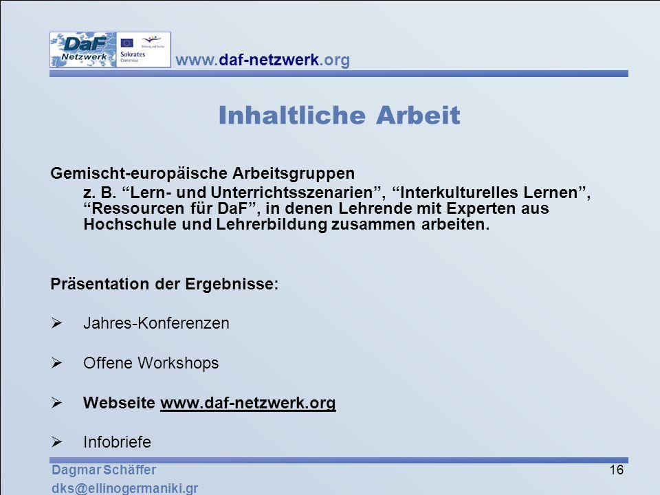 Inhaltliche Arbeit Gemischt-europäische Arbeitsgruppen