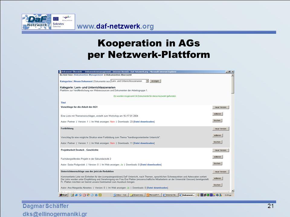 Kooperation in AGs per Netzwerk-Plattform