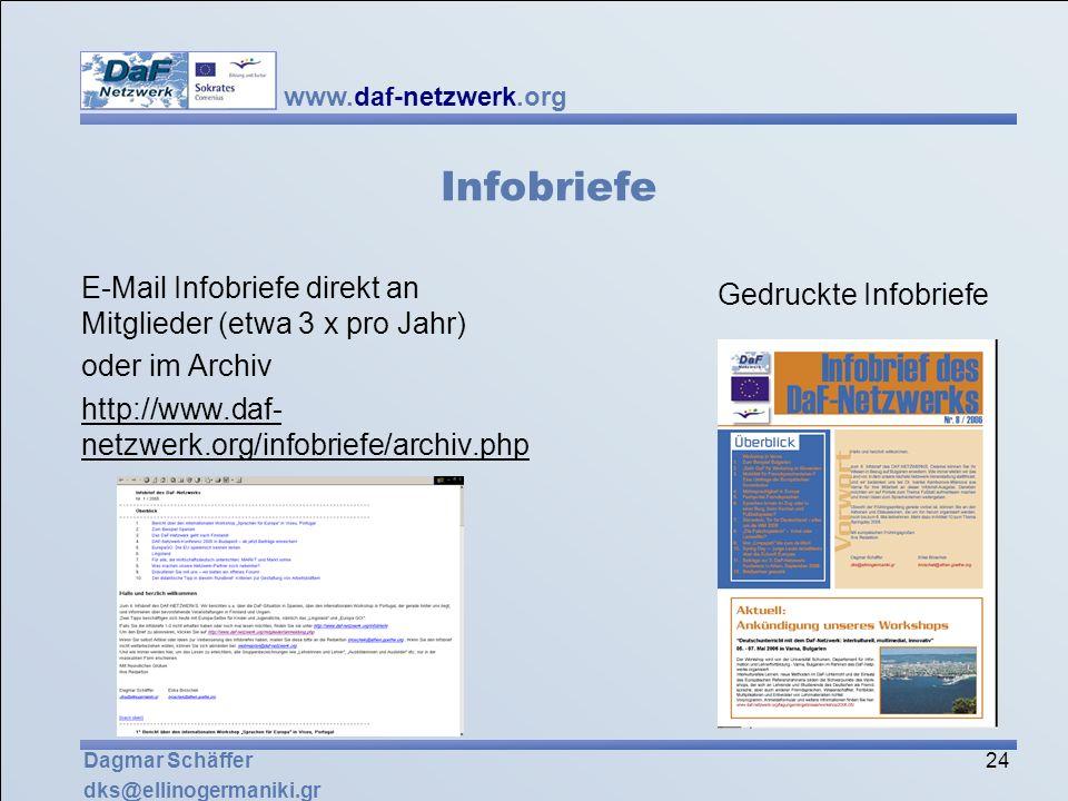 Infobriefe E-Mail Infobriefe direkt an Mitglieder (etwa 3 x pro Jahr)