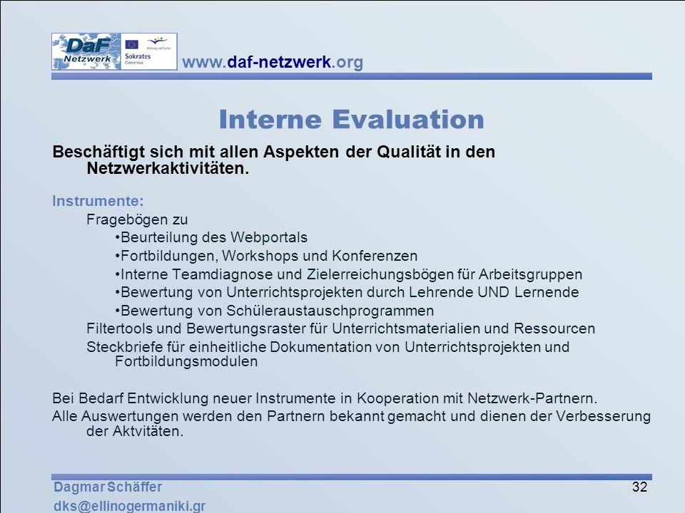 Interne Evaluation Beschäftigt sich mit allen Aspekten der Qualität in den Netzwerkaktivitäten. Instrumente: