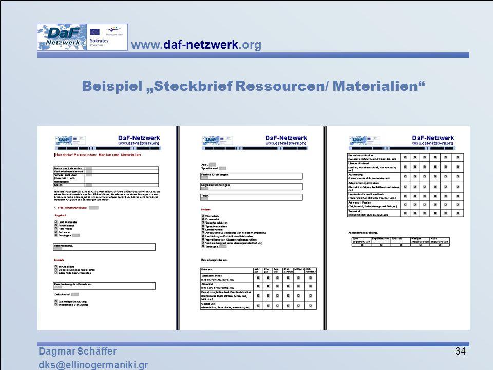 """Beispiel """"Steckbrief Ressourcen/ Materialien"""